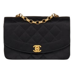 1991 Chanel Black Quilted Satin Vintage Mini Diana Classic Single Flap Bag