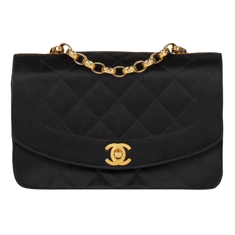1991 Chanel Black Quilted Satin Vintage Mini Diana Classic Single Flap Bag  For Sale