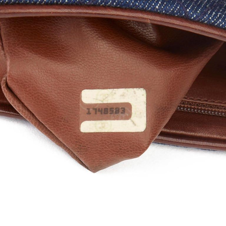 1991 Chanel Blue Quilted Denim & Brown Lambskin Vintage Timeless Charm Belt Bag For Sale 5