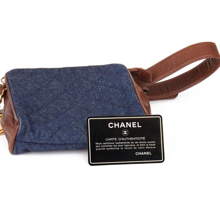 1991 Chanel Blue Quilted Denim & Brown Lambskin Vintage Timeless Charm Belt Bag For Sale 7