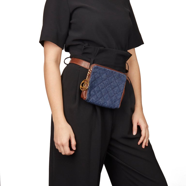 CHANEL Blue Quilted Denim & Brown Lambskin Vintage Timeless Charm Belt Bag  Xupes Reference: HB3147 Serial Number: 1748583 Age (Circa): 1991 Accompanied By: Chanel Authenticity Card Authenticity Details: Serial Sticker, Authenticity Card (Made in