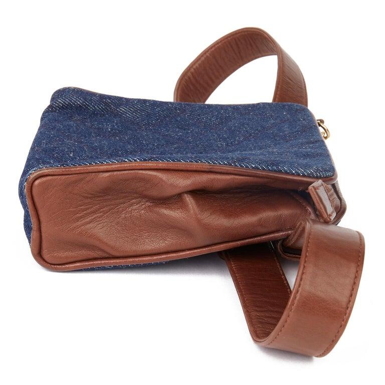 Black 1991 Chanel Blue Quilted Denim & Brown Lambskin Vintage Timeless Charm Belt Bag For Sale