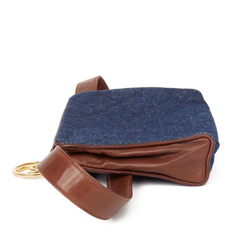 1991 Chanel Blue Quilted Denim & Brown Lambskin Vintage Timeless Charm Belt Bag In Excellent Condition For Sale In Bishop's Stortford, Hertfordshire