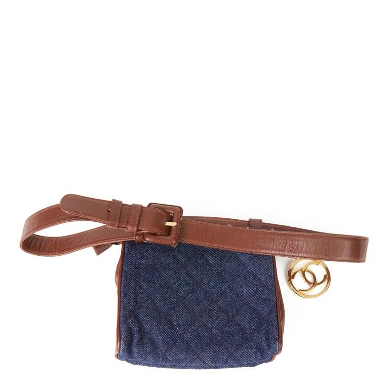 Women's 1991 Chanel Blue Quilted Denim & Brown Lambskin Vintage Timeless Charm Belt Bag For Sale