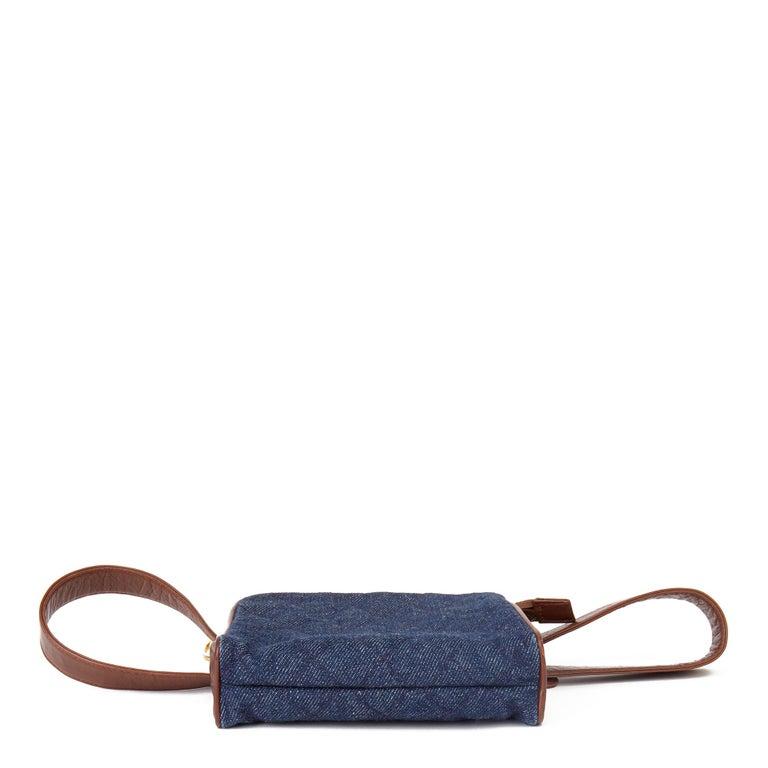 1991 Chanel Blue Quilted Denim & Brown Lambskin Vintage Timeless Charm Belt Bag For Sale 1