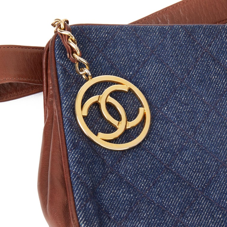 1991 Chanel Blue Quilted Denim & Brown Lambskin Vintage Timeless Charm Belt Bag For Sale 2