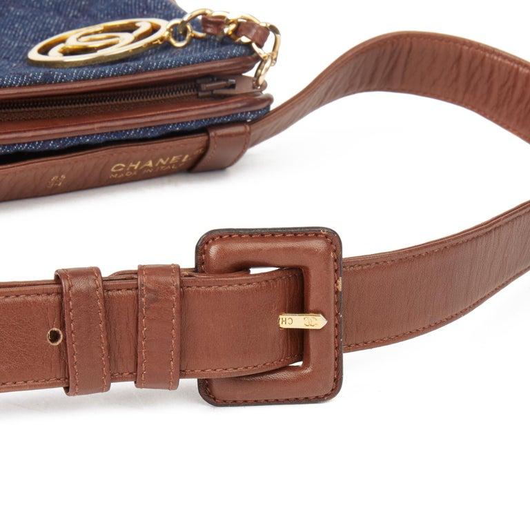 1991 Chanel Blue Quilted Denim & Brown Lambskin Vintage Timeless Charm Belt Bag For Sale 3