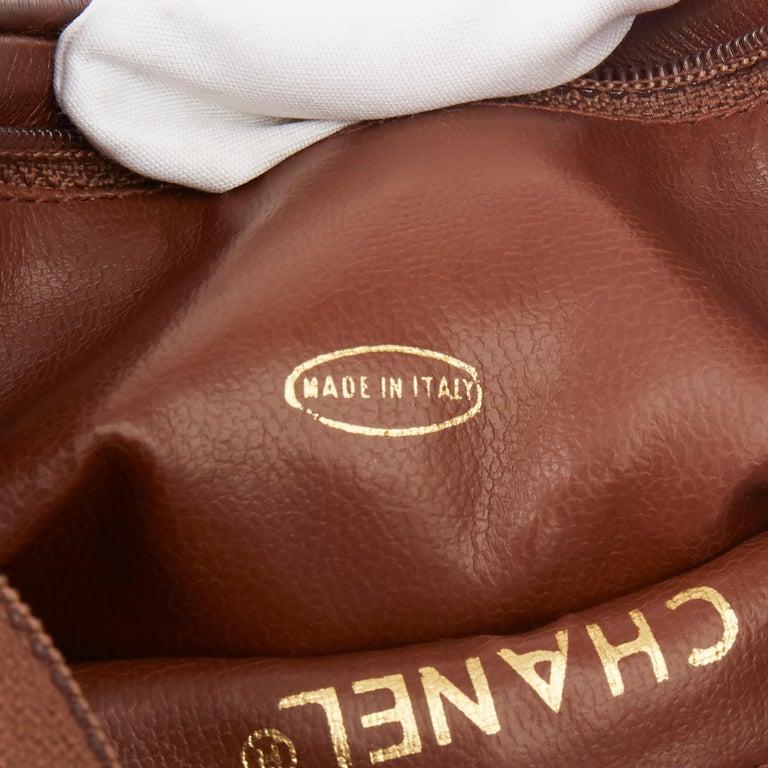 1991 Chanel Blue Quilted Denim & Brown Lambskin Vintage Timeless Charm Belt Bag For Sale 4