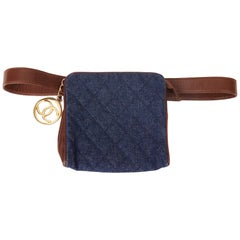 1991 Chanel Blue Quilted Denim & Brown Lambskin Vintage Timeless Charm Belt Bag