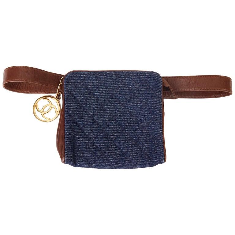 1991 Chanel Blue Quilted Denim & Brown Lambskin Vintage Timeless Charm Belt Bag For Sale