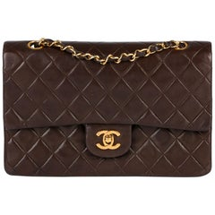 1991 Chanel Brown Quilted Lambskin Vintage Medium Classic Double Flap Bag