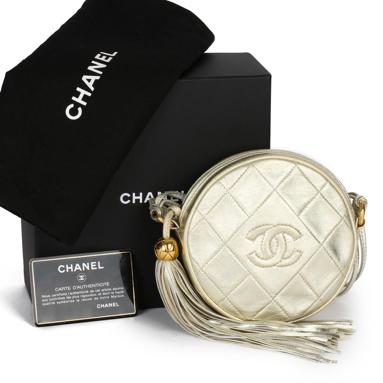 1991 Chanel Champagne Gold Lambskin Vintage Timeless Round Fringe Pochette For Sale 8
