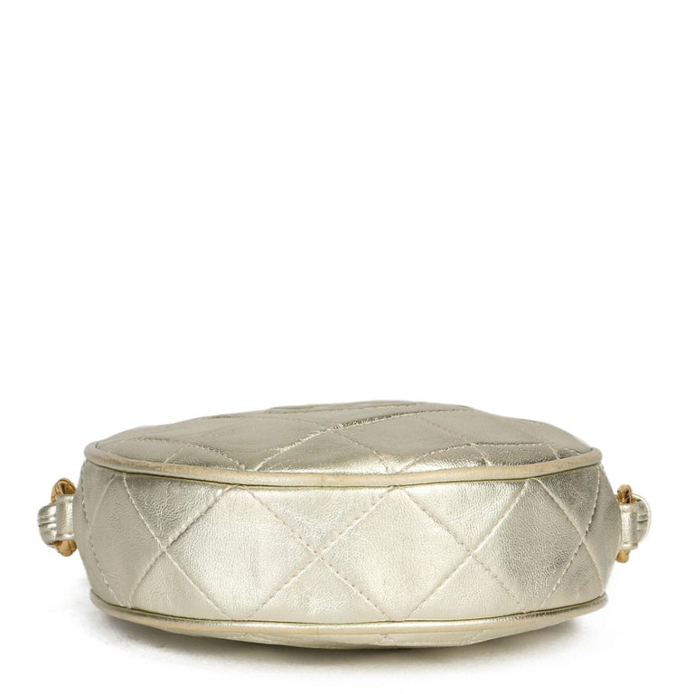 1991 Chanel Champagne Gold Lambskin Vintage Timeless Round Fringe Pochette For Sale 2