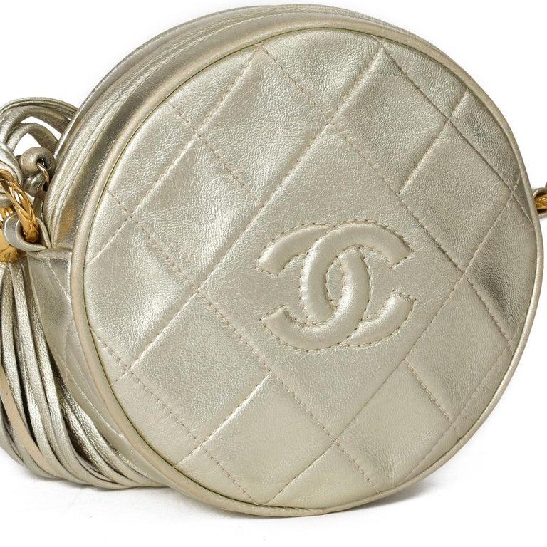 1991 Chanel Champagne Gold Lambskin Vintage Timeless Round Fringe Pochette For Sale 3