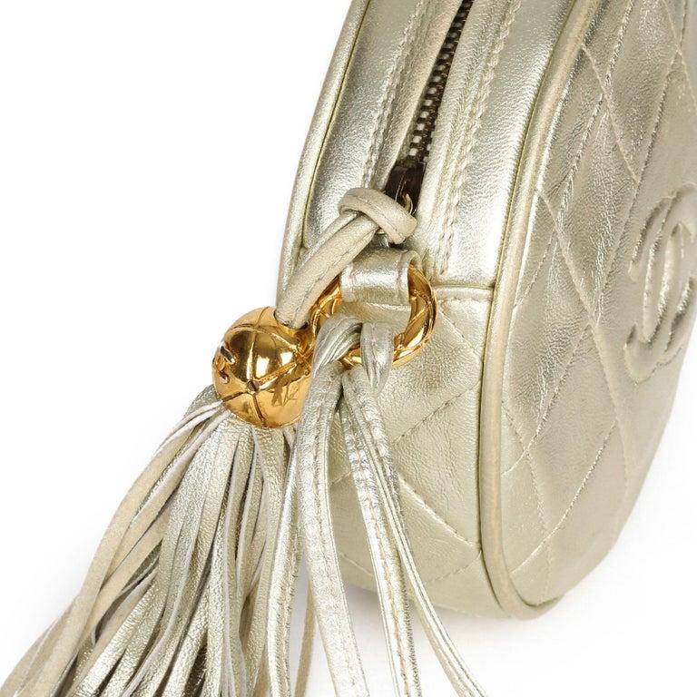 1991 Chanel Champagne Gold Lambskin Vintage Timeless Round Fringe Pochette For Sale 4