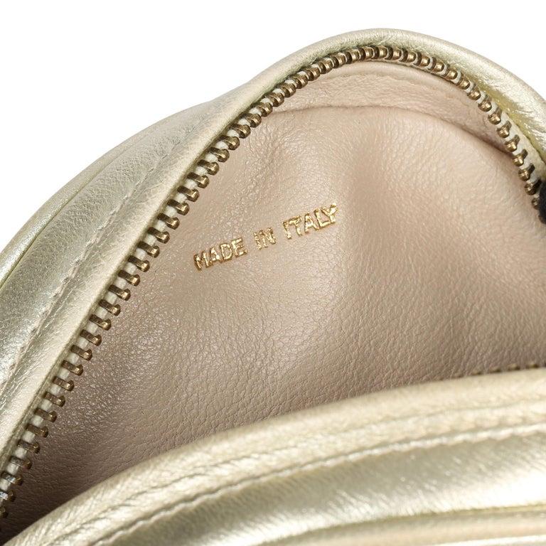 1991 Chanel Champagne Gold Lambskin Vintage Timeless Round Fringe Pochette For Sale 5