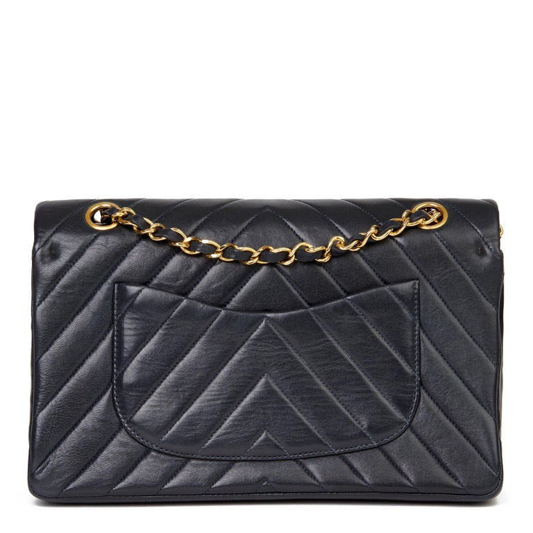 Women's 1991 Chanel Navy Quilted Chevron Vintage Medium Classic Double Flap Bag
