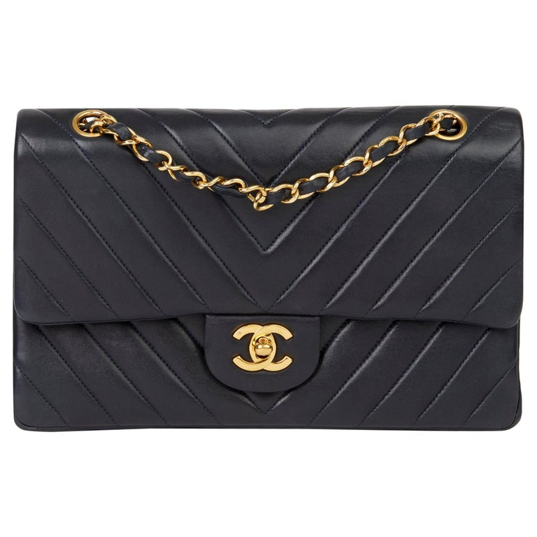 1991 Chanel Navy Quilted Chevron Vintage Medium Classic Double Flap Bag