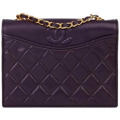 1991 Chanel Purple Lambskin Vintage Timeless Single Flap Bag