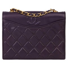 1991 Chanel Purple Quilted Lambskin Vintage Timeless Single Flap Bag