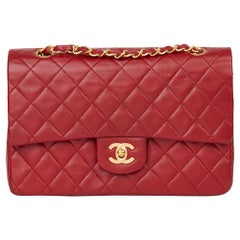 1991 Chanel Red Quilted Lambskin Vintage Medium Classic Double Flap Bag