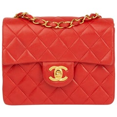 1991 Chanel Red Quilted Lambskin Vintage Mini Flap Bag