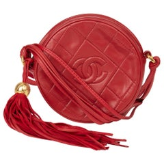 1991 Chanel Red Quilted Lambskin Vintage Timeless Round Fringe Pochette