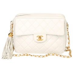 1991 Chanel White Quilted Lambskin Vintage Classic Camera Bag