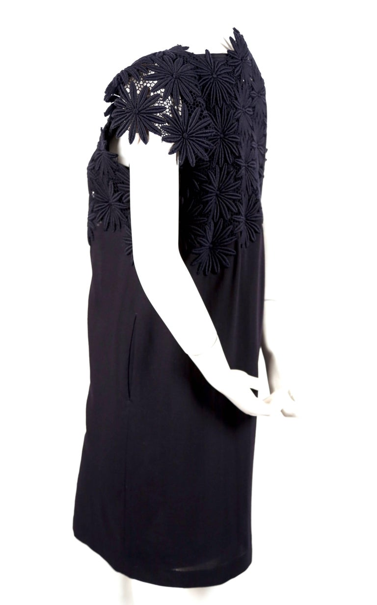 Black 1991 COMME DES GARCONS navy blue embroidered lace runway dress For Sale