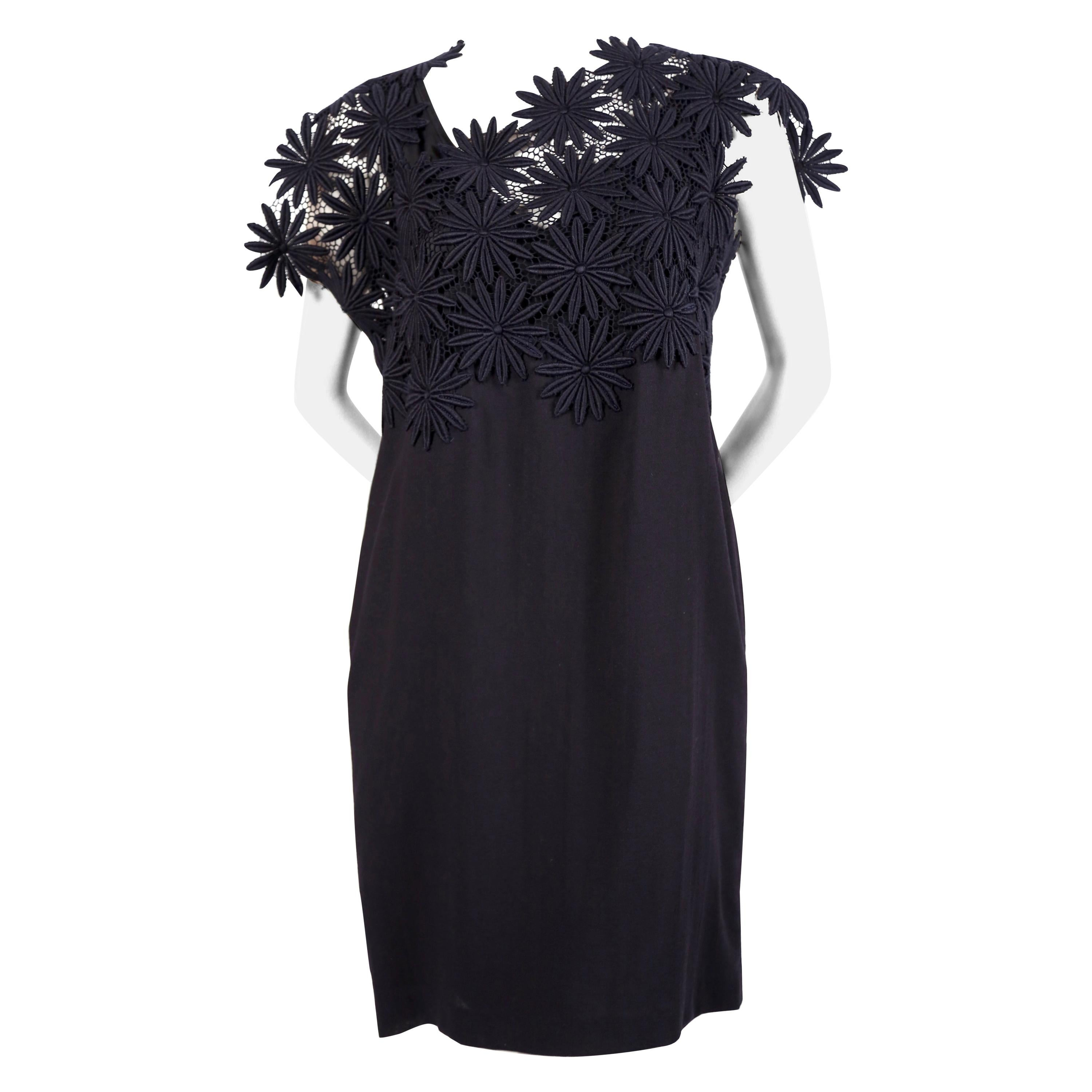 1991 COMME DES GARCONS navy blue embroidered lace runway dress