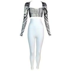 1991 Dolce & Gabbana Bandana Crop Top & High Waist White Leggings Set
