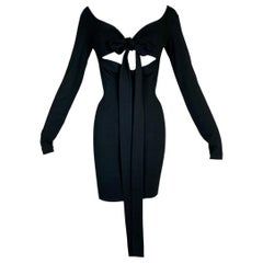 1991 Dolce & Gabbana Pin-Up Black Cut-Out Off Shoulder Bodycon Mini Dress
