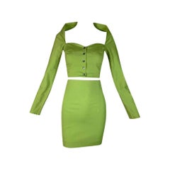 1991 Dolce & Gabbana Pin-Up Green Crop Top & High Waist Mini Skirt Set