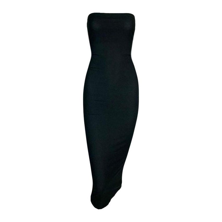 1991 Dolce & Gabbana Thin Stretchy Bodycon Strapless Tube Dress For Sale