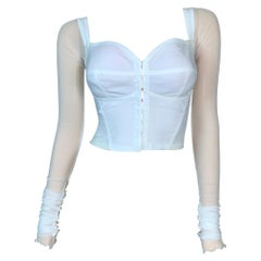 1991 Dolce & Gabbana White Sheer Mesh Fishnet Sleeves Bustier Crop Top