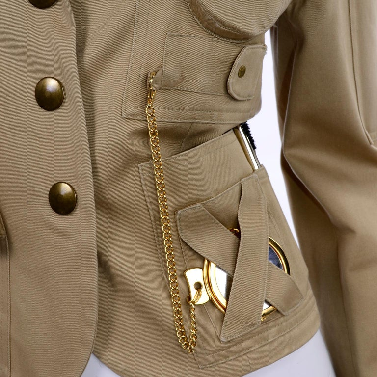 1991 Franco Moschino Couture Survival Jacket in Khaki Cotton Urban Jungle Tools For Sale 5