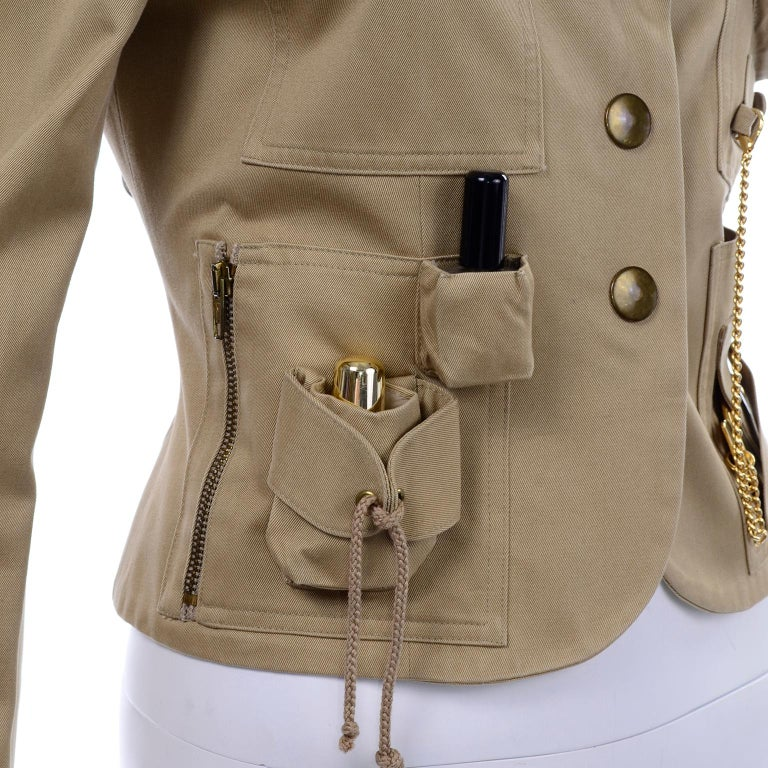 1991 Franco Moschino Couture Survival Jacket in Khaki Cotton Urban Jungle Tools For Sale 7