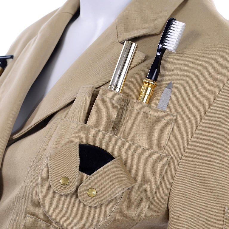 1991 Franco Moschino Couture Survival Jacket in Khaki Cotton Urban Jungle Tools For Sale 8