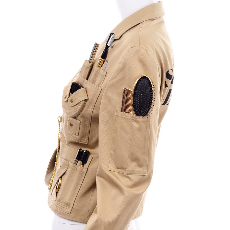 1991 Franco Moschino Couture Survival Jacket in Khaki Cotton Urban Jungle Tools For Sale 10