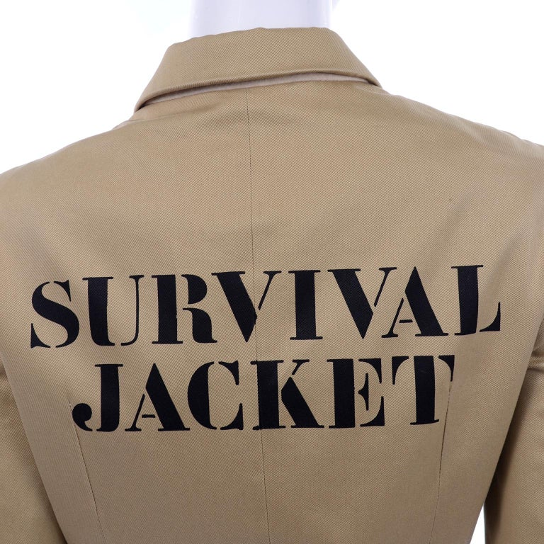 1991 Franco Moschino Couture Survival Jacket in Khaki Cotton Urban Jungle Tools For Sale 11
