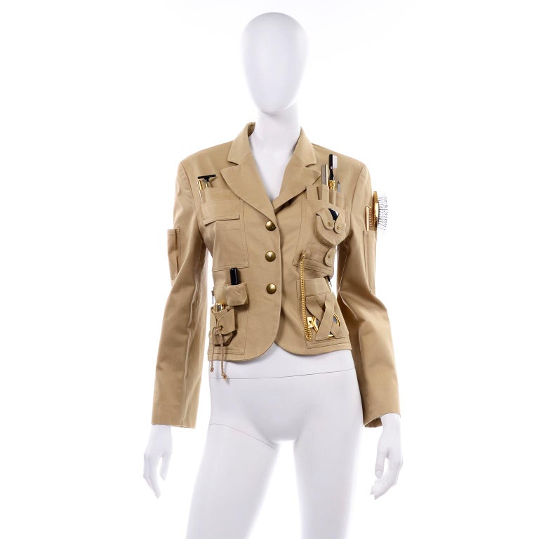Brown 1991 Franco Moschino Couture Survival Jacket in Khaki Cotton Urban Jungle Tools For Sale