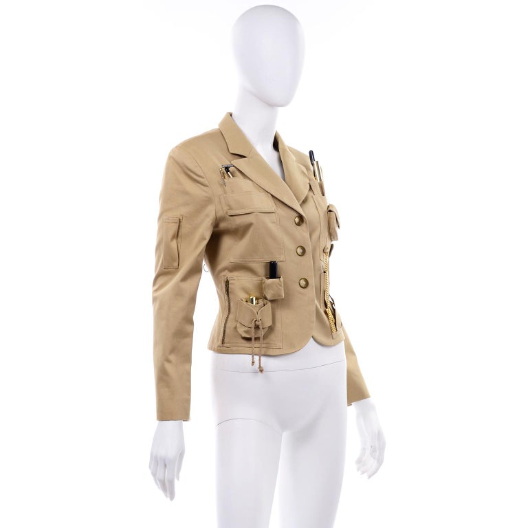 1991 Franco Moschino Couture Survival Jacket in Khaki Cotton Urban Jungle Tools In Excellent Condition For Sale In Portland, OR
