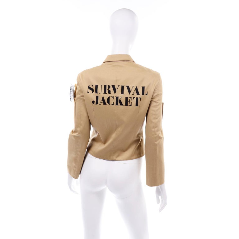 Women's 1991 Franco Moschino Couture Survival Jacket in Khaki Cotton Urban Jungle Tools For Sale