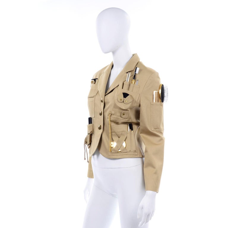 1991 Franco Moschino Couture Survival Jacket in Khaki Cotton Urban Jungle Tools For Sale 1
