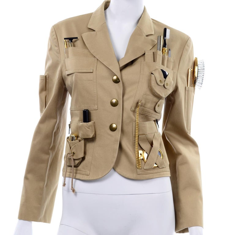 1991 Franco Moschino Couture Survival Jacket in Khaki Cotton Urban Jungle Tools For Sale 3