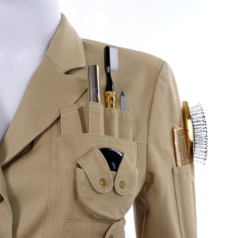1991 Franco Moschino Couture Survival Jacket in Khaki Cotton Urban Jungle Tools For Sale 4