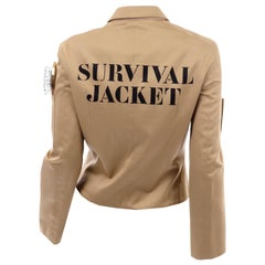 1991 Franco Moschino Couture Survival Jacket in Khaki Cotton Urban Jungle Tools