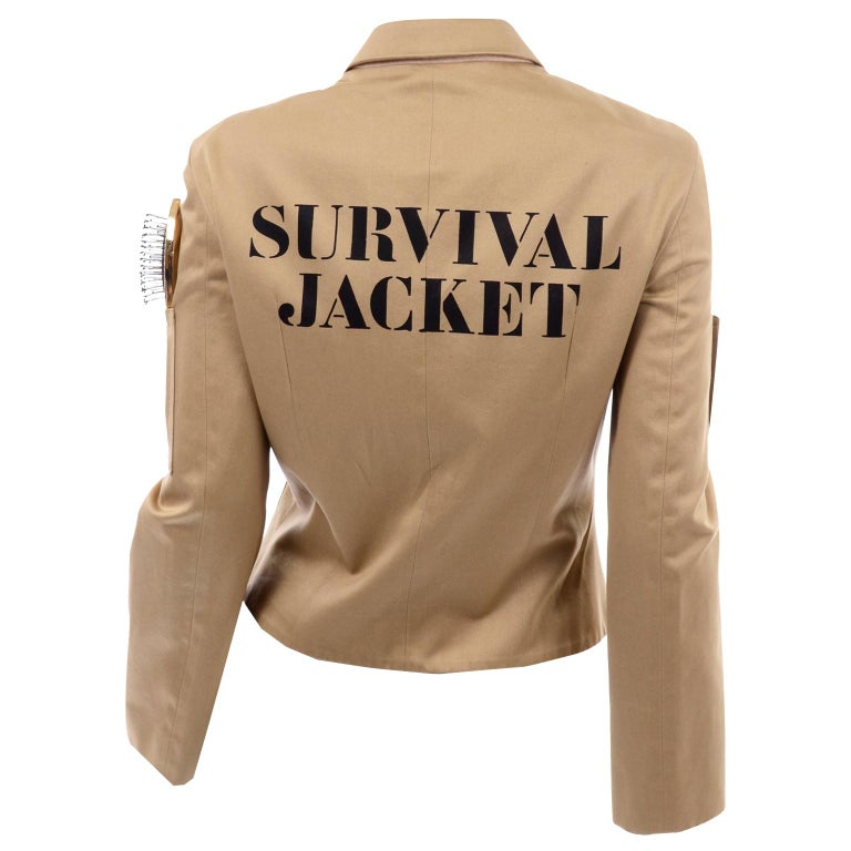 1991 Franco Moschino Couture Survival Jacket in Khaki Cotton Urban Jungle Tools For Sale