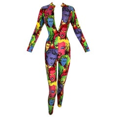 1991 Gianni Versace Andy Warhol Marilyn Monroe Jumpsuit Catsuit Romper