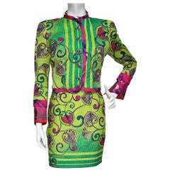 1991 GIANNI VERSACE Atelier Collection Green Vintage Jacket and Skirt Suit